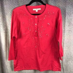 Tommy Hilfiger Indian Inspired Sequin Blouse Pink